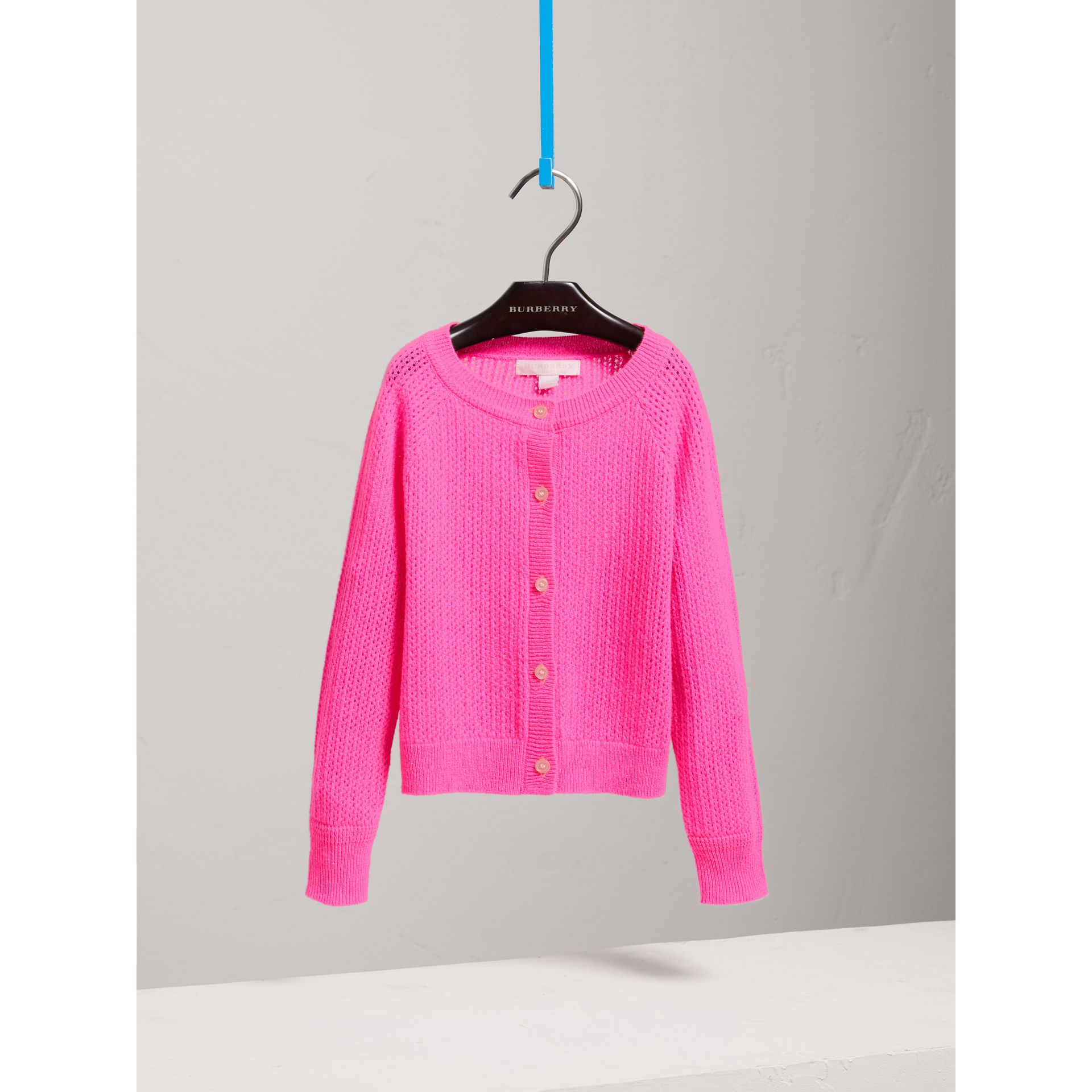 Open-stitch Knitted Cashmere Cardigan in Neon Pink - Girl | Burberry - gallery image 2