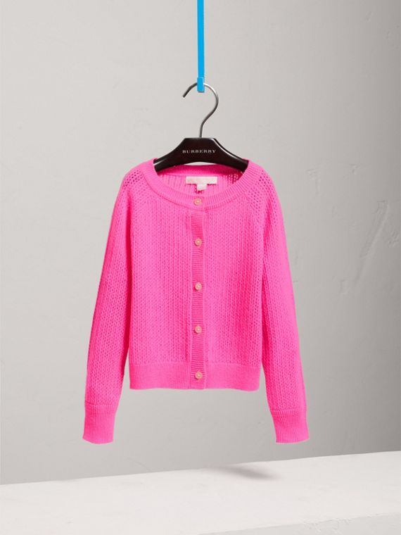 Open-stitch Knitted Cashmere Cardigan in Neon Pink - Girl | Burberry - cell image 2