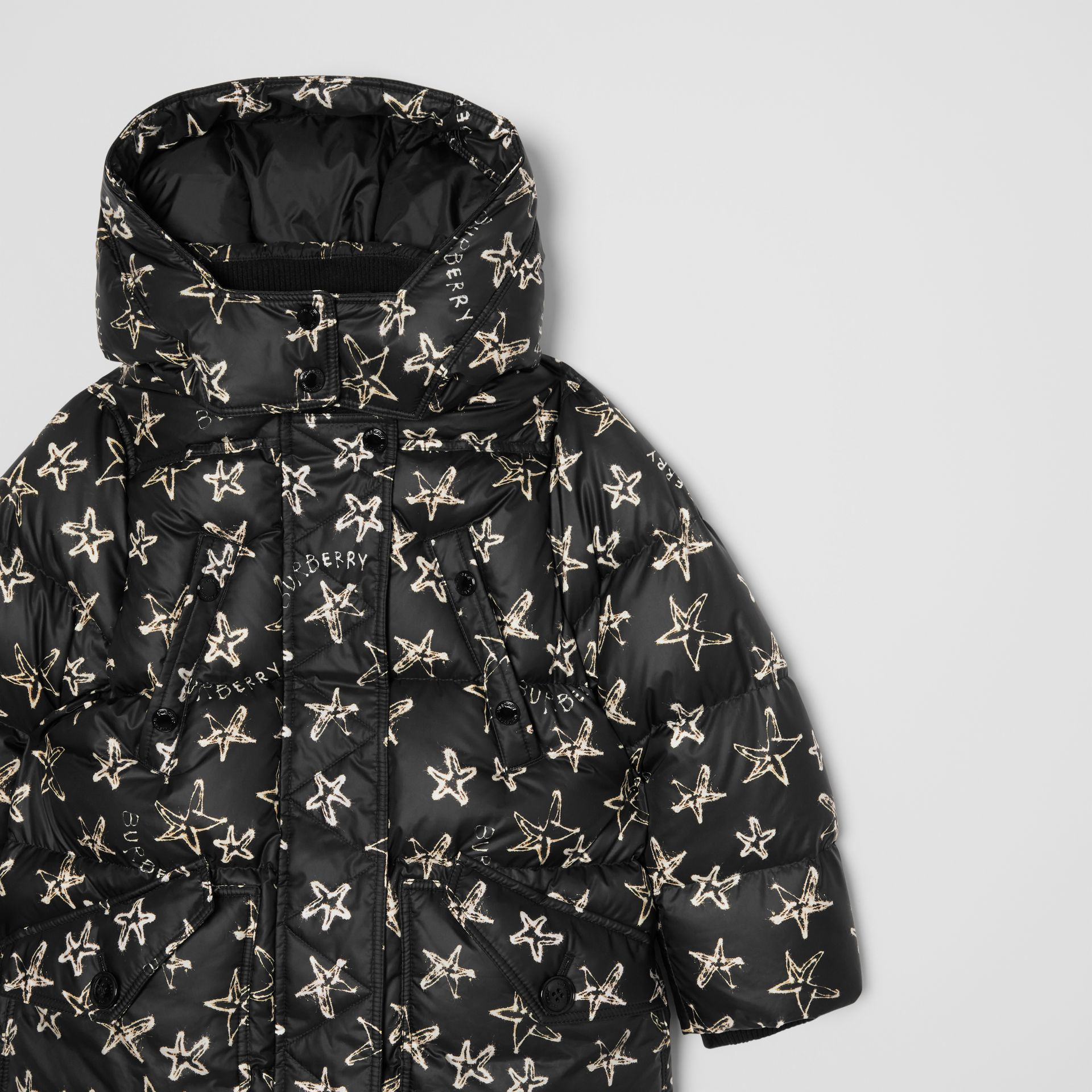 Sparkler Print Hooded Puffer Coat in Black | Burberry - gallery image 4