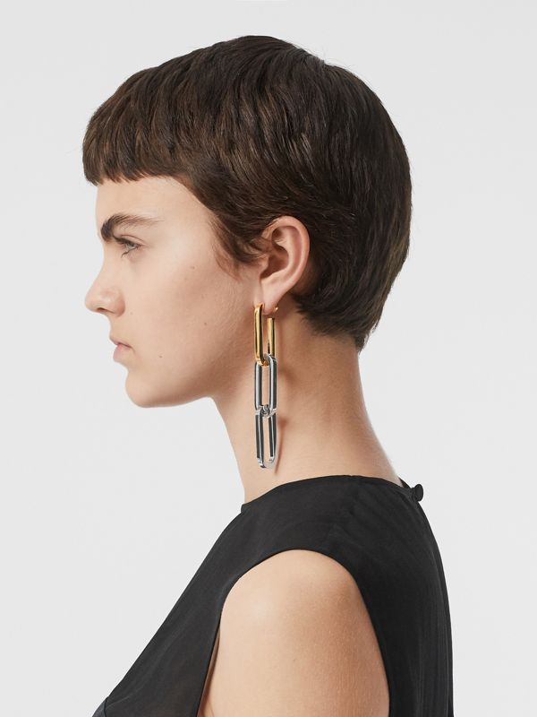 Gold and Palladium-plated Double-link Drop Earring in Light - Women | Burberry United Kingdom - cell image 2