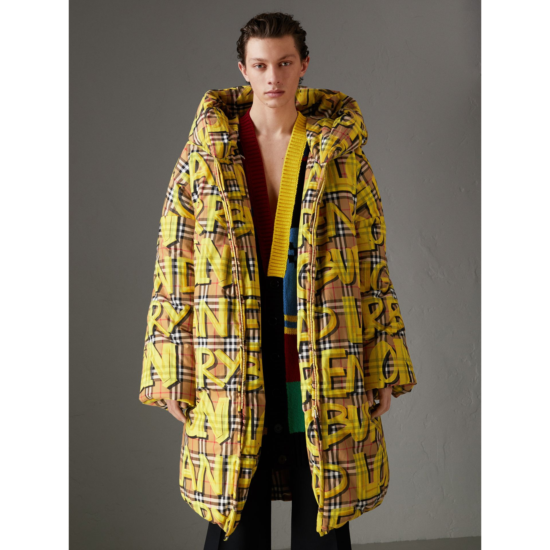 Graffiti Vintage Check Down-filled Puffer Coat in Bright Yellow | Burberry Australia - gallery image 4