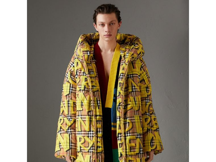 Graffiti Vintage Check Down-filled Puffer Coat in Bright Yellow | Burberry - cell image 4