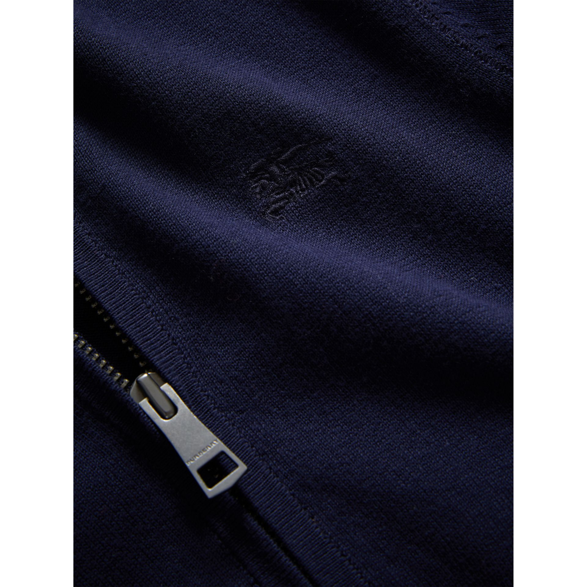 Check Elbow Patch Bomber Cardigan in Navy - Boy | Burberry Canada - gallery image 1