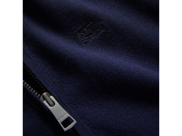 Check Elbow Patch Bomber Cardigan in Navy - Boy | Burberry Canada - cell image 1