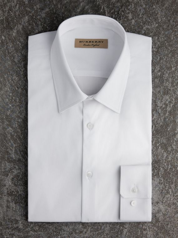 Slim Fit Stretch Cotton Shirt in White