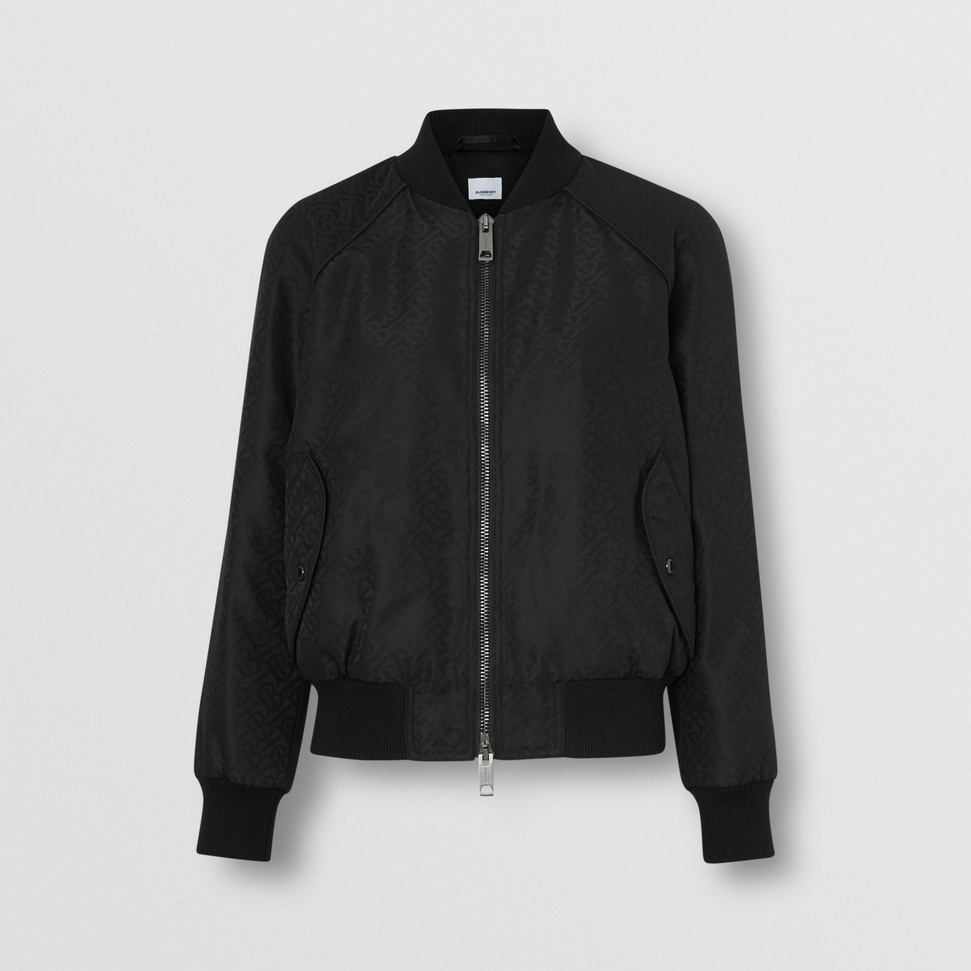 Monogram ECONYL® Jacquard Bomber Jacket in Black - Women | Burberry - gallery image 3