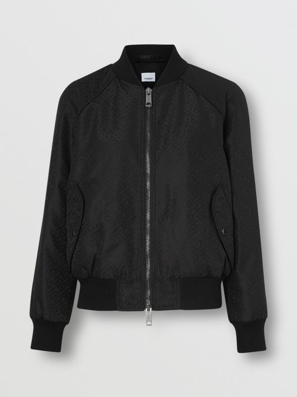 Monogram ECONYL® Jacquard Bomber Jacket in Black - Women | Burberry - cell image 3