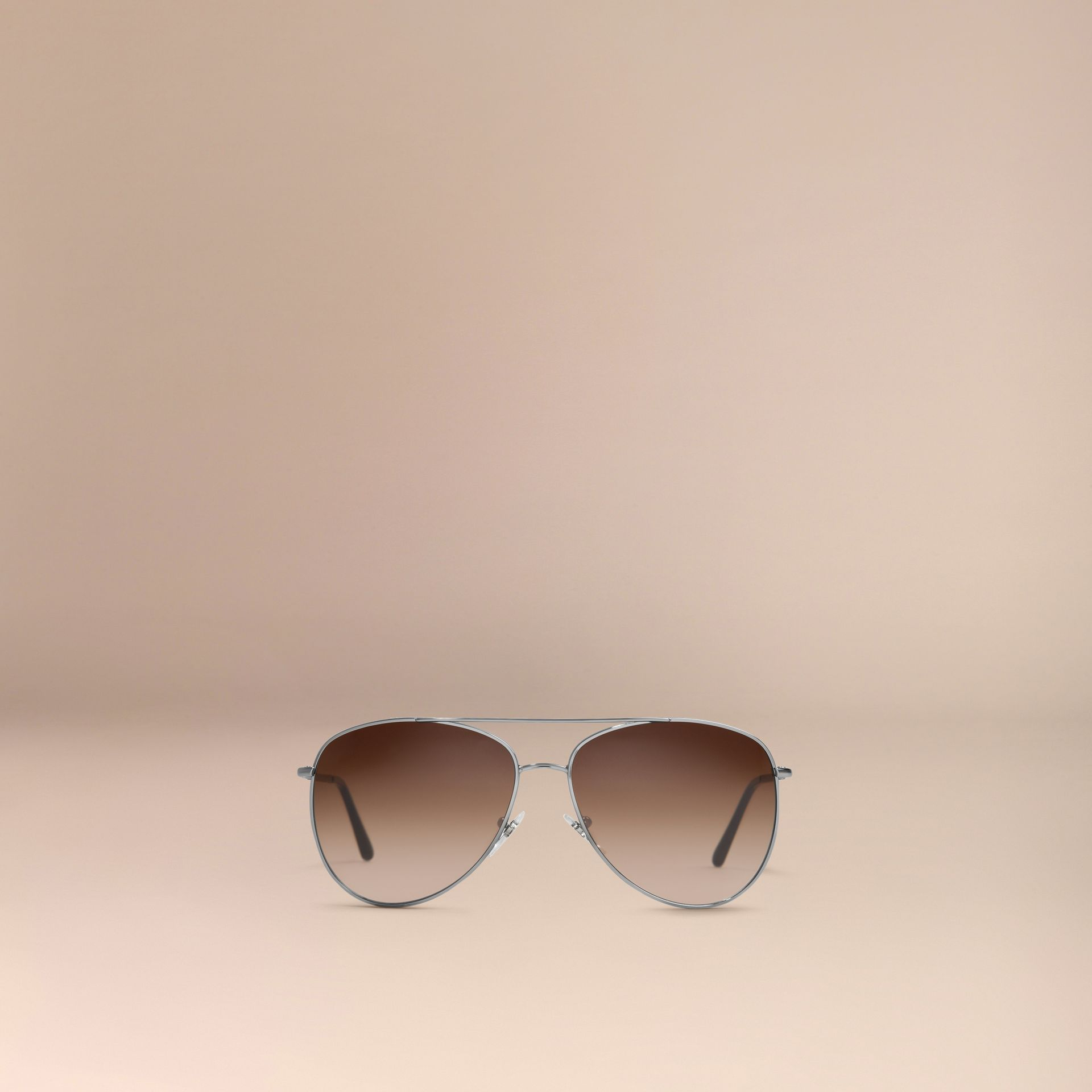 Nickel Check Arm Aviator Sunglasses Nickel - gallery image 4