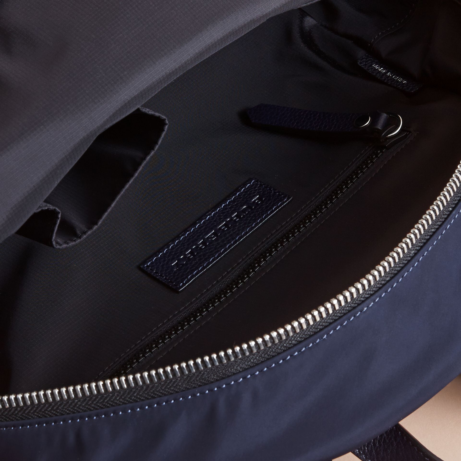 Leather Trim Lightweight Backpack in Ink | Burberry Singapore - gallery image 4