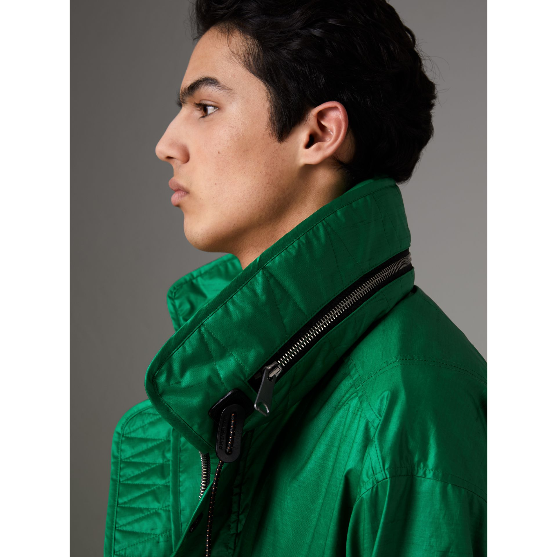 Packaway Hood Showerproof Jacket With Gilet in Vibrant Green - Men | Burberry United Kingdom - gallery image 1