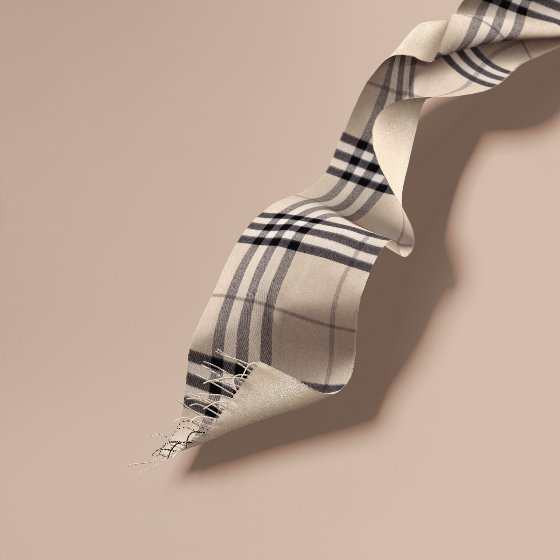 Reversible Metallic Check Cashmere Scarf in Natural White - gallery image 1