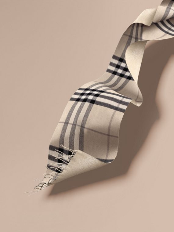 Reversible Metallic Check Cashmere Scarf Natural White