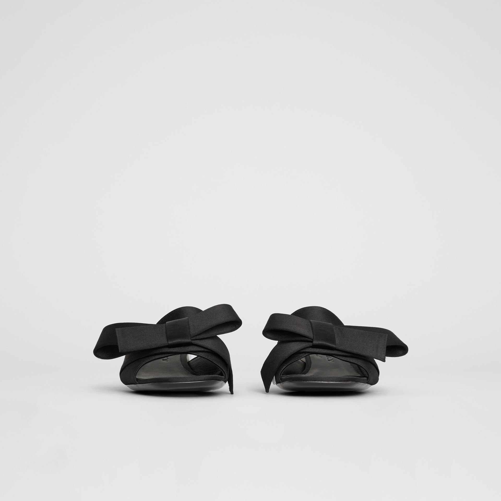 Bow Detail Satin Block-heel Mules in Black - Women | Burberry - gallery image 4
