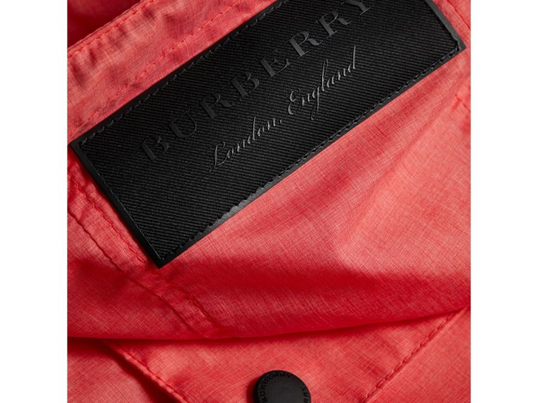 Showerproof Hooded Jacket in Bright Coral Pink - Girl | Burberry - cell image 1