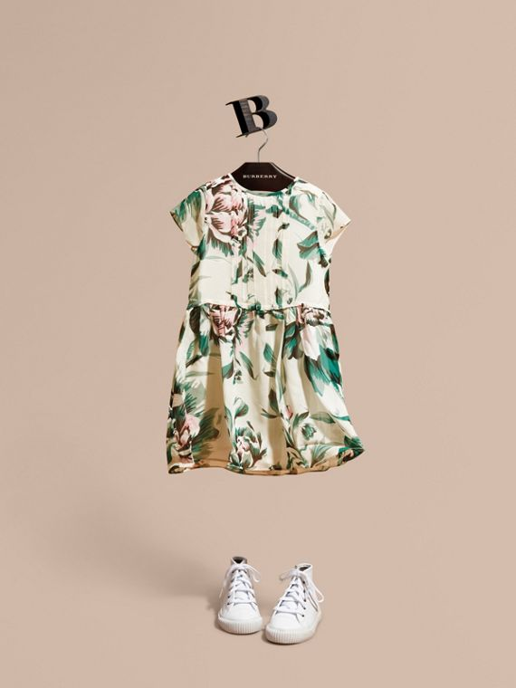 Peony Rose Print Silk Dress Emerald Green