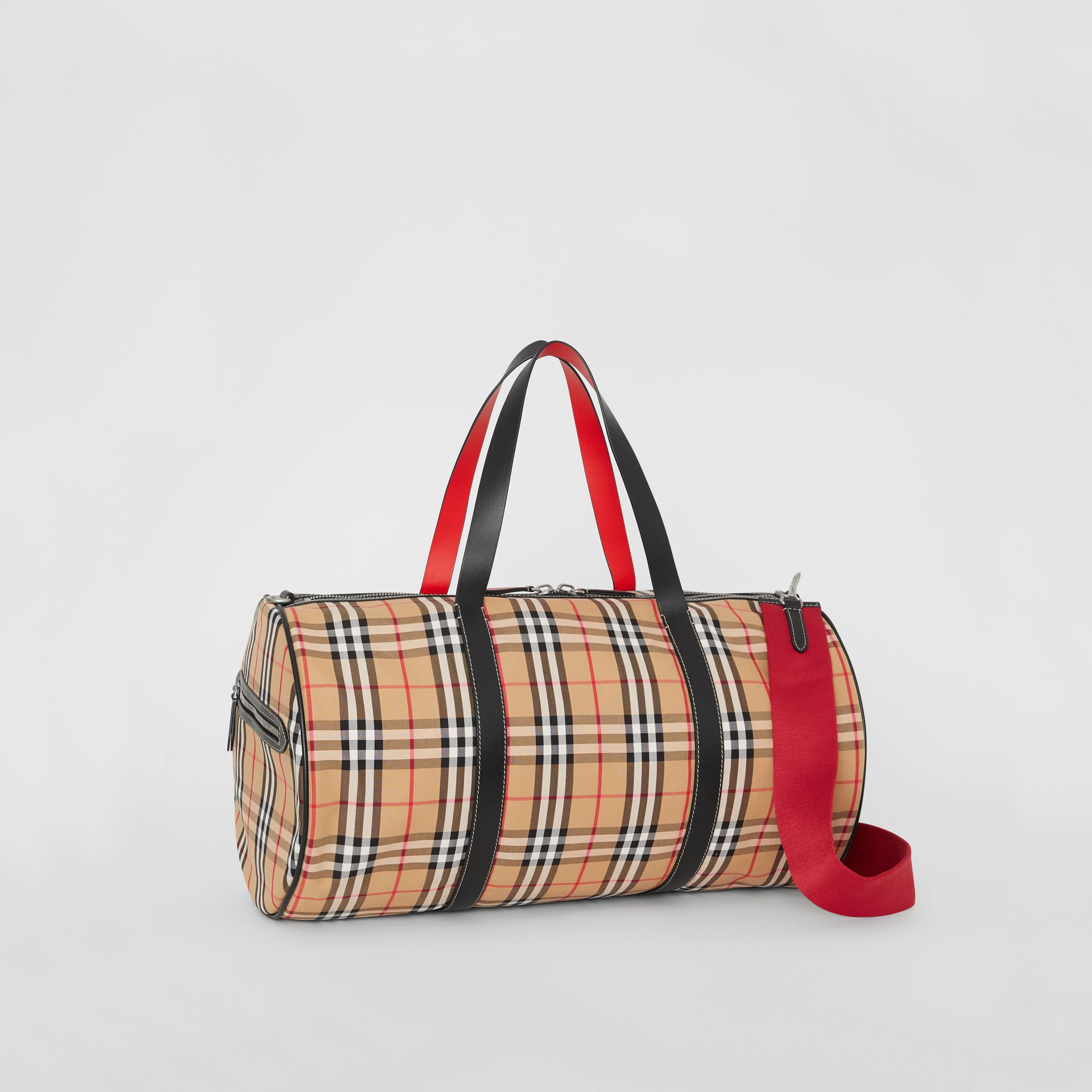 Large Vintage Check and Leather Barrel Bag in Military Red - Men | Burberry - gallery image 8