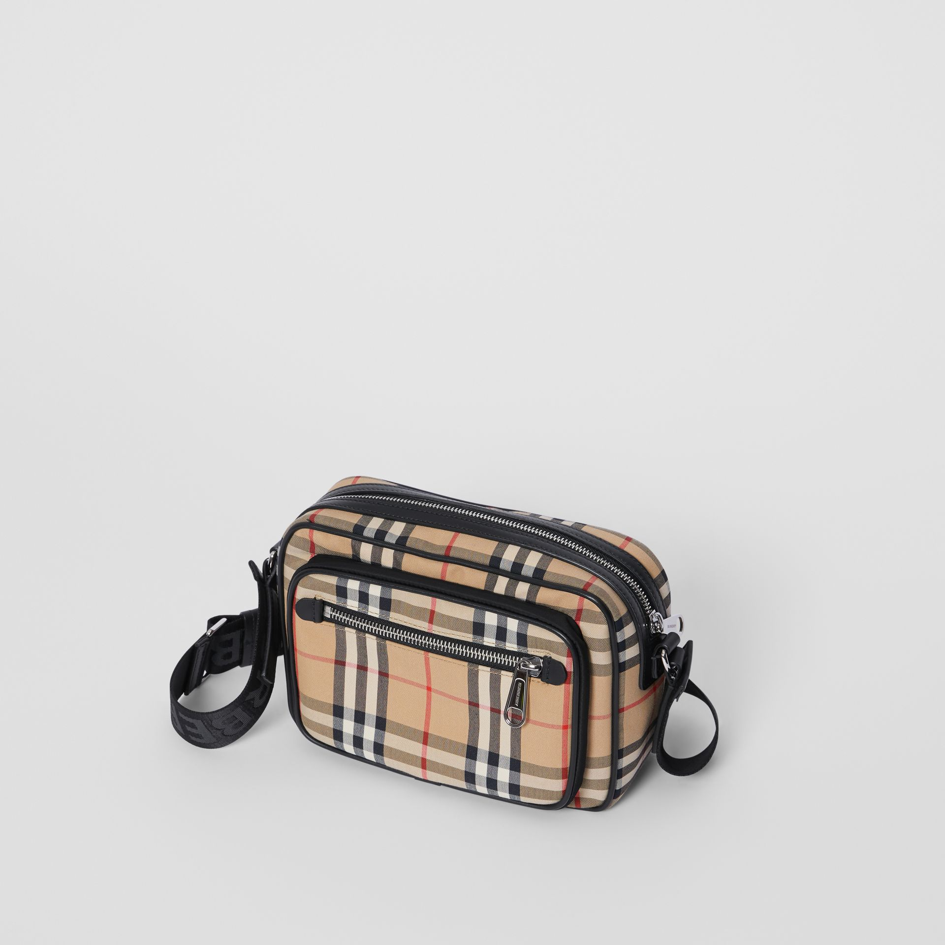 Vintage Check and Leather Crossbody Bag in Archive Beige - Men | Burberry Australia - gallery image 3