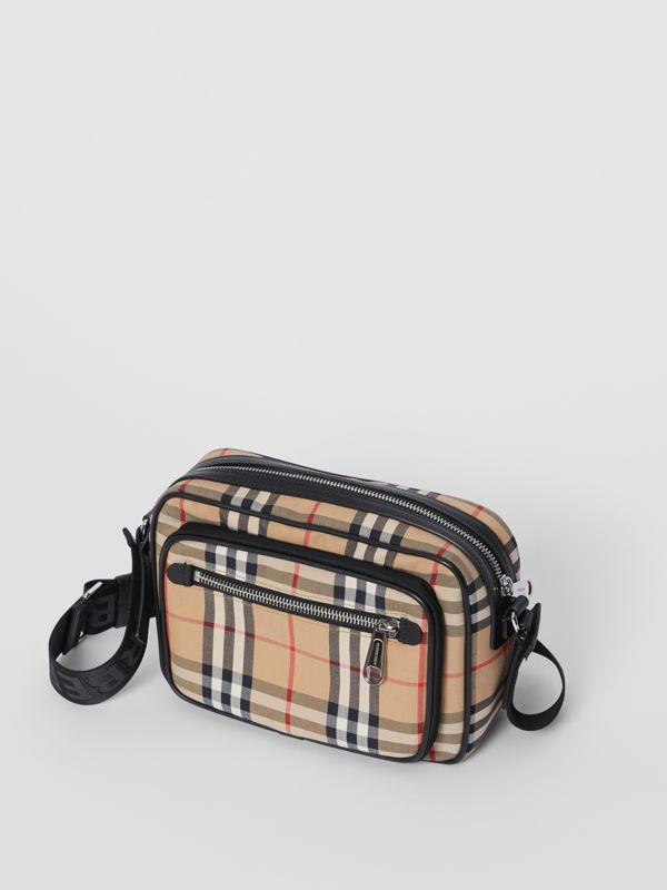 Vintage Check and Leather Crossbody Bag in Archive Beige - Men | Burberry Australia - cell image 3