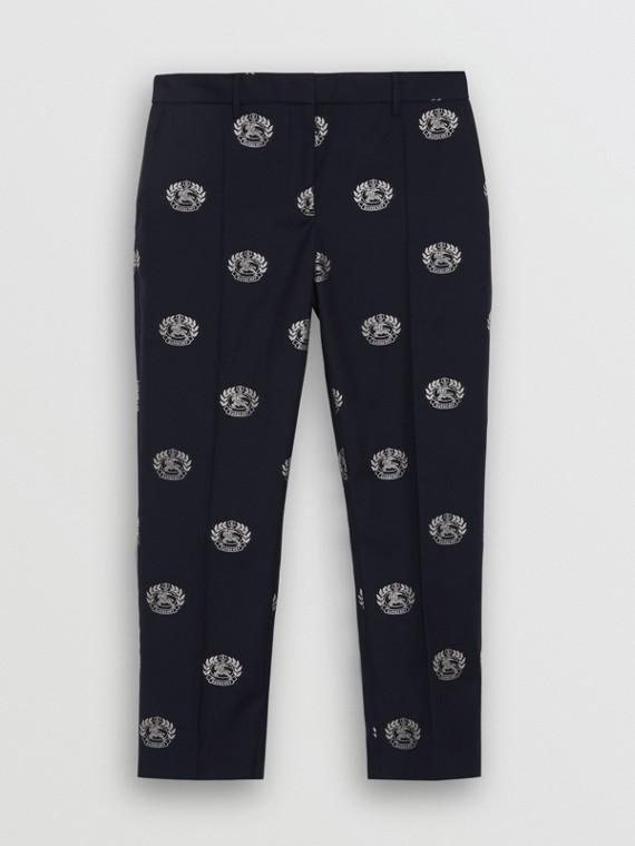 Укороченные брюки с эмблемой Burberry (Полночный Синий)