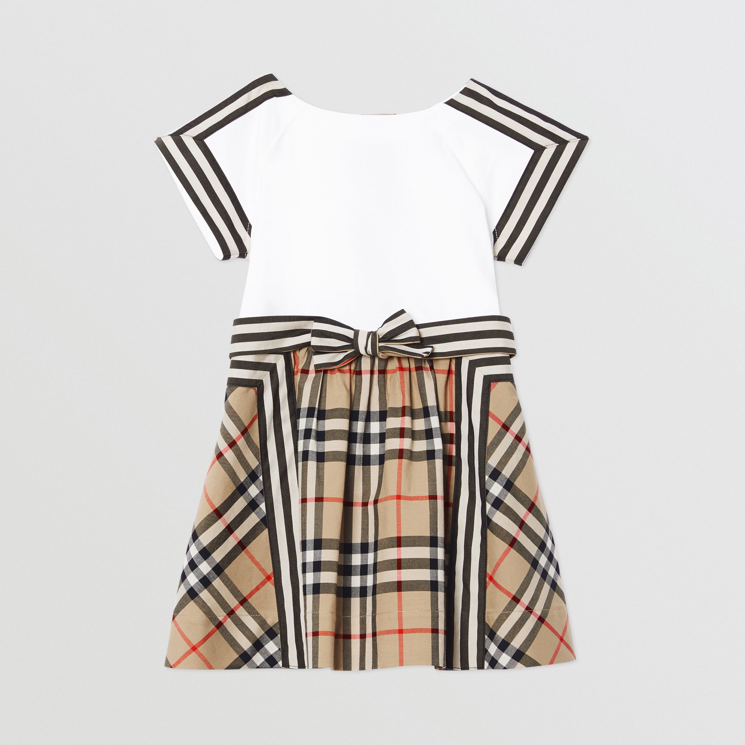 Vintage Check Detail Cotton Dress in Archive Beige - Children | Burberry - 1