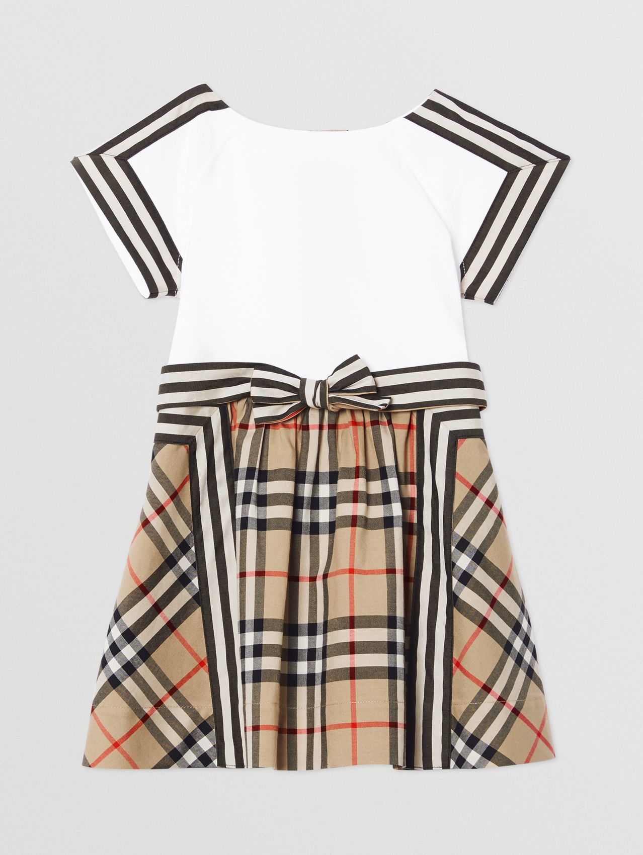 Vintage Check Detail Cotton Dress in Archive Beige