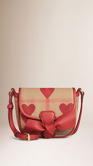 Heart-print House Check Crossbody Bag