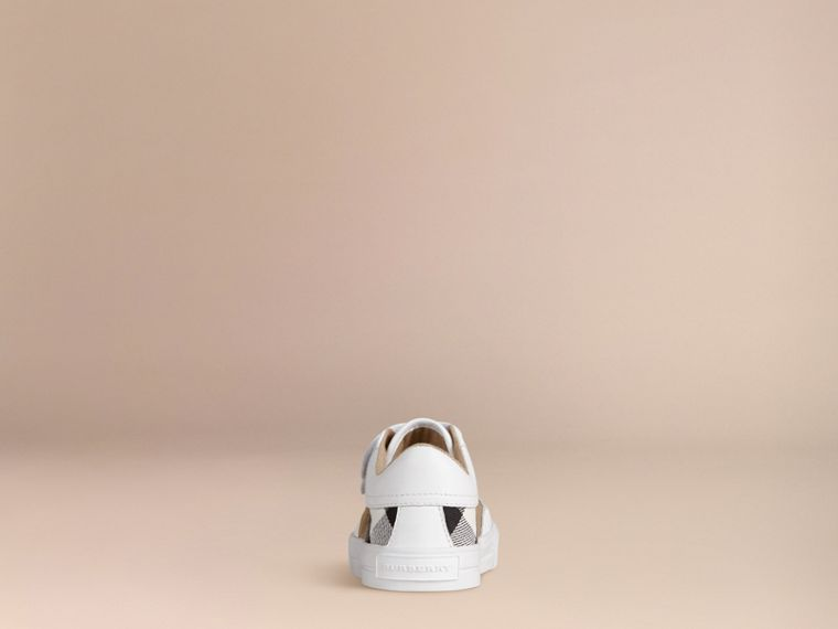 House Check and Leather Trainers in White | Burberry - cell image 2