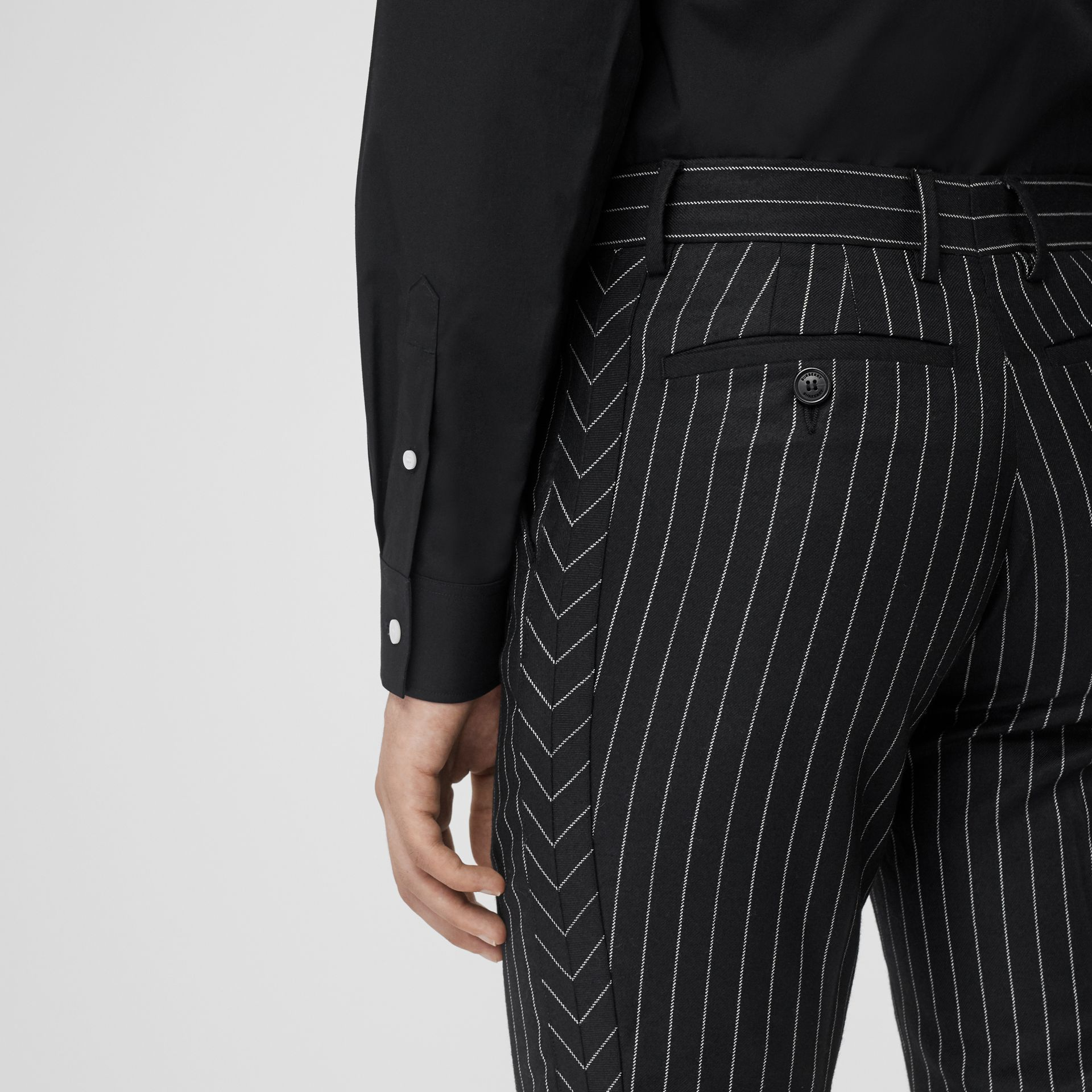 Classic Fit Pinstriped Wool Tailored Trousers in Black/white | Burberry Singapore - gallery image 1