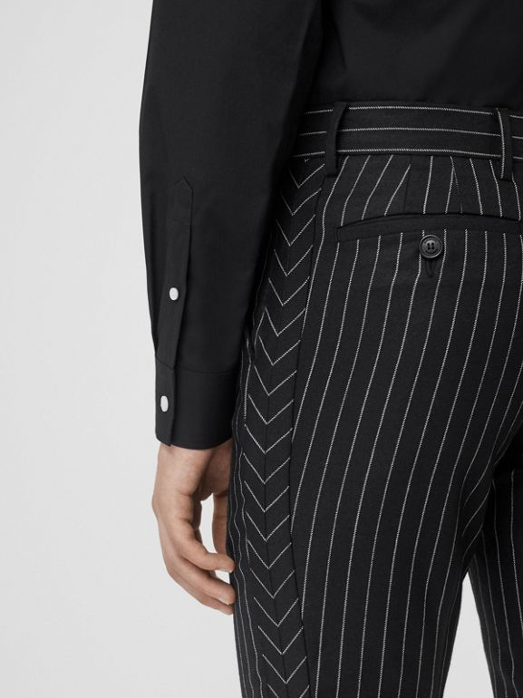 Classic Fit Pinstriped Wool Tailored Trousers in Black/white | Burberry Singapore - cell image 1