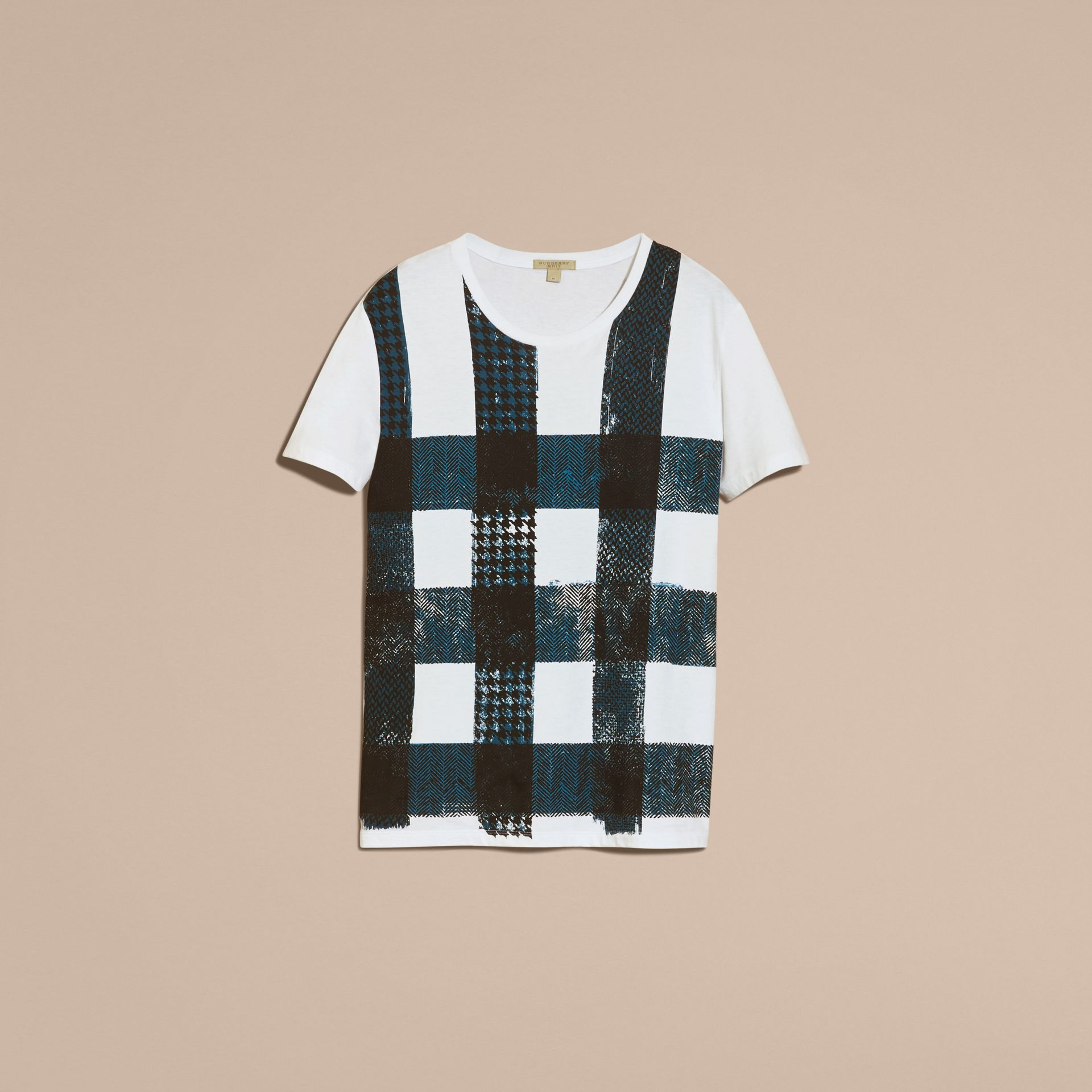 Bianco T-shirt in cotone effetto texture con motivo check Bianco - immagine della galleria 4
