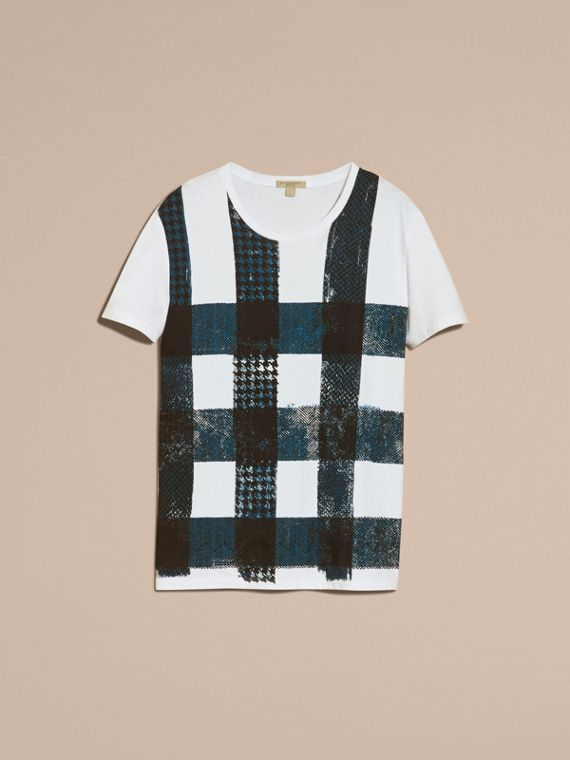 White Textured Check Cotton T-Shirt White - cell image 3