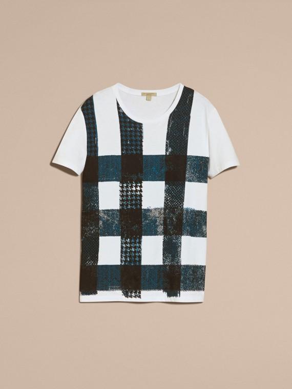 Bianco T-shirt in cotone effetto texture con motivo check Bianco - cell image 3