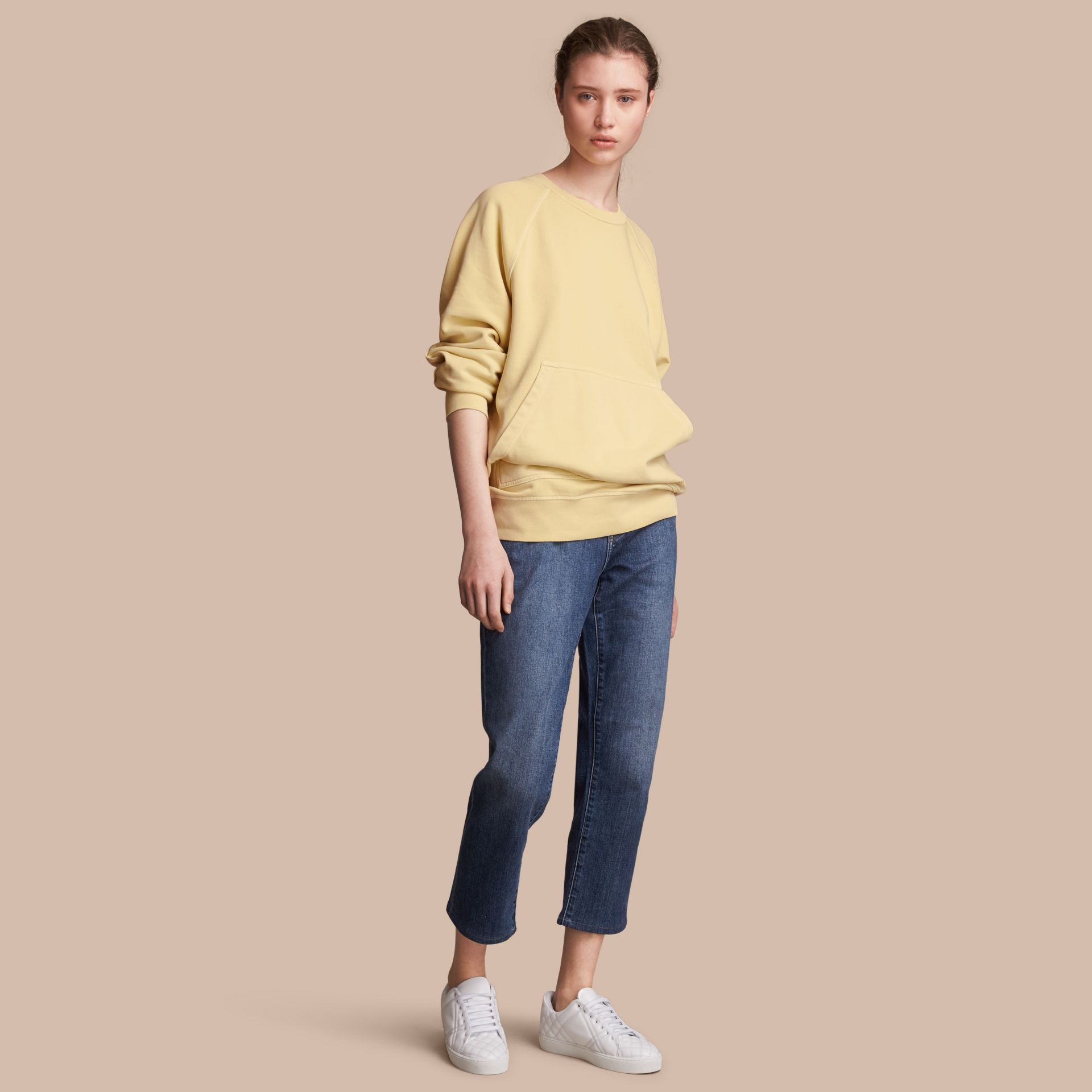 Unisex Pigment-dyed Cotton Oversize Sweatshirt in Pale Yellow - Women | Burberry - gallery image 1