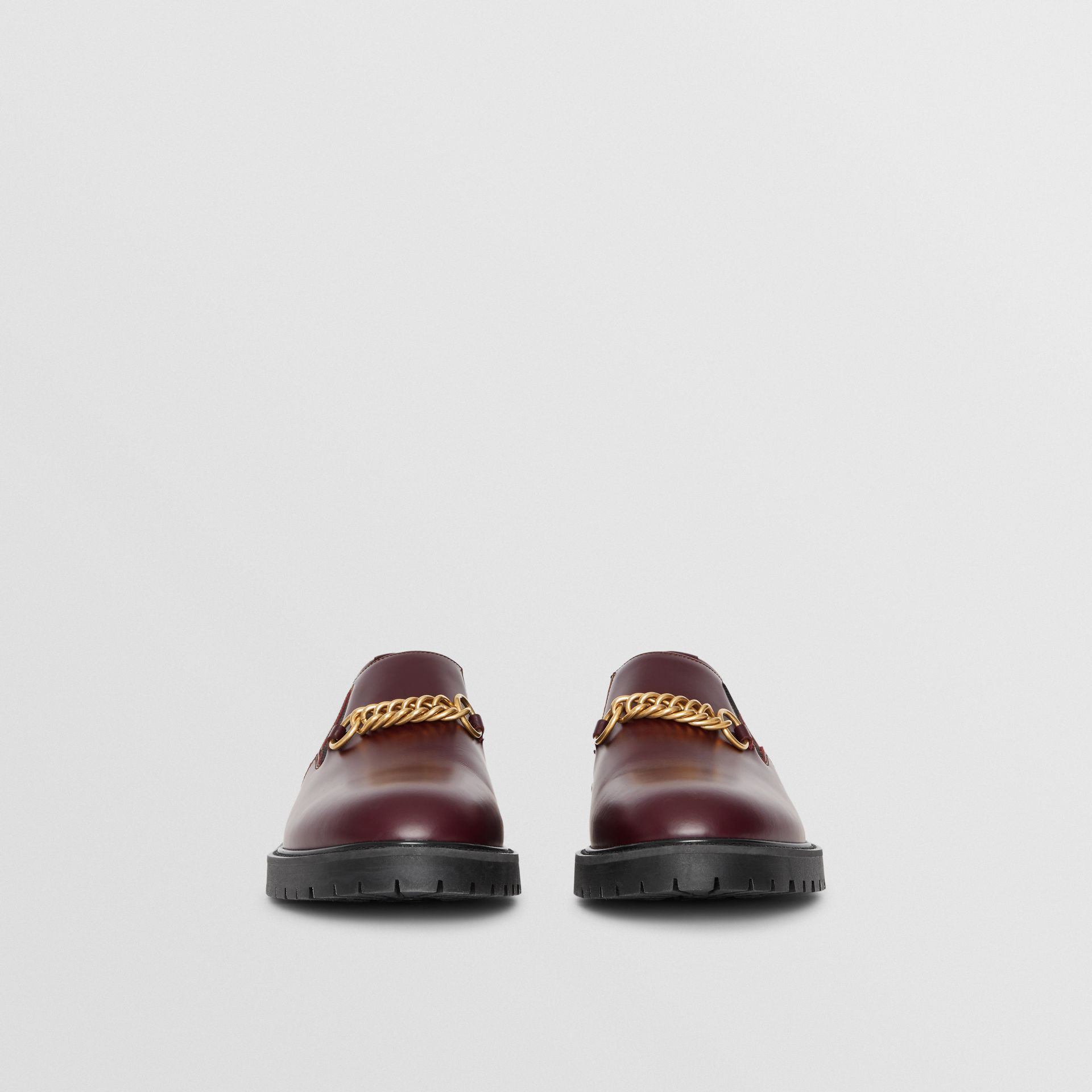 Link Detail Leather Shoe in Oxblood - Men | Burberry - gallery image 2