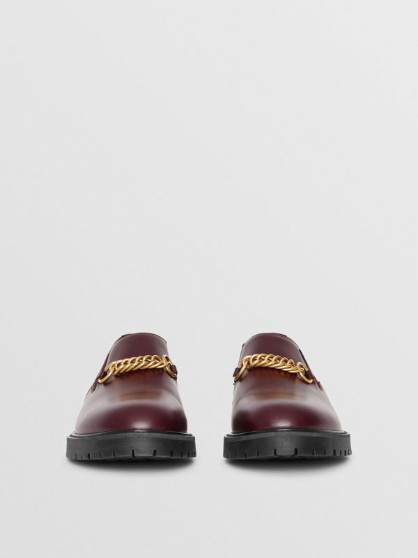 Link Detail Leather Shoe in Oxblood - Men | Burberry - cell image 2