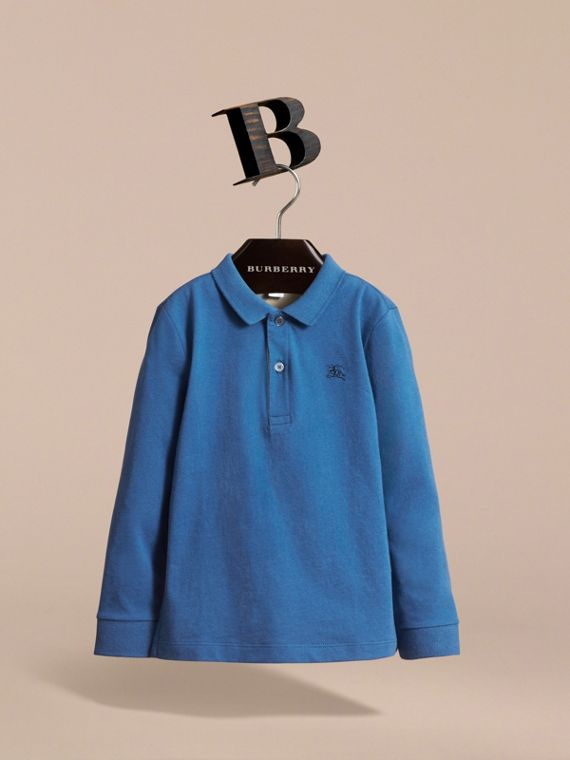 Long-sleeve Cotton Jersey Polo Shirt in Marine Blue - Boy | Burberry - cell image 2