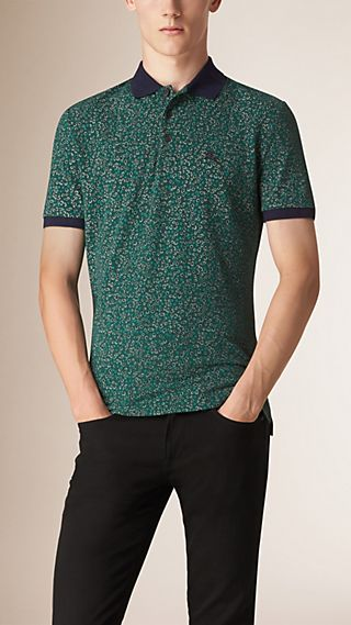 Abstract Print Piqué Cotton Polo Shirt