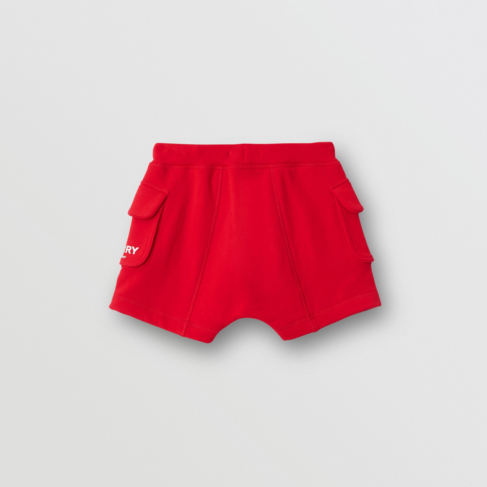 Logo Print Cotton Drawcord Shorts in Bright Red | Burberry United Kingdom - gallery image 4