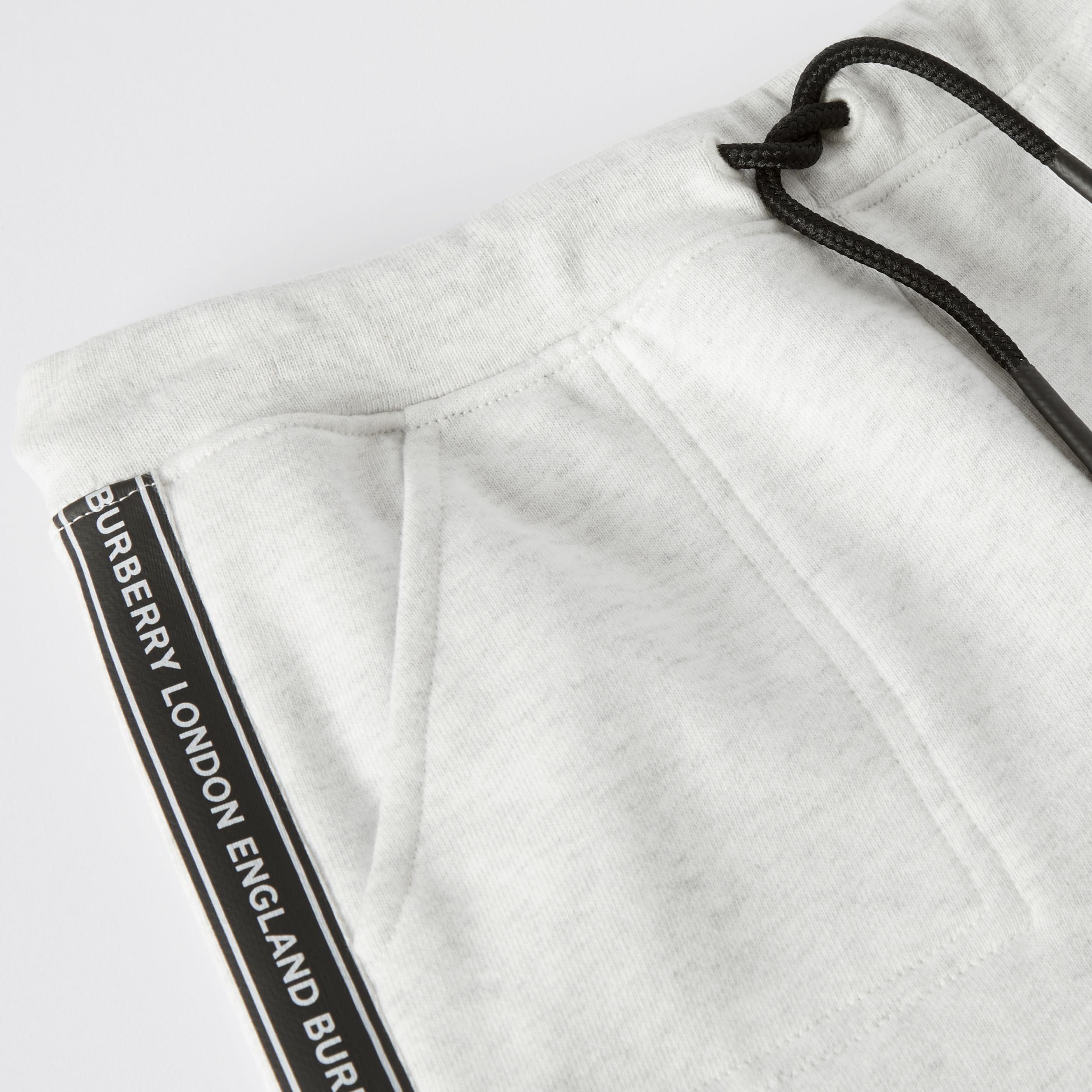 Logo Tape Cotton Drawcord Shorts in White Melange | Burberry Australia - 2