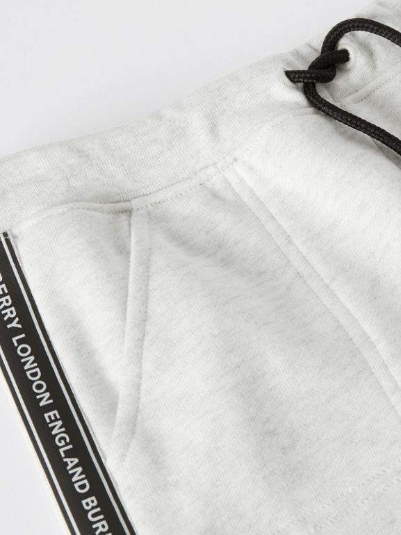 Logo Tape Cotton Drawcord Shorts in White Melange | Burberry United Kingdom - cell image 1