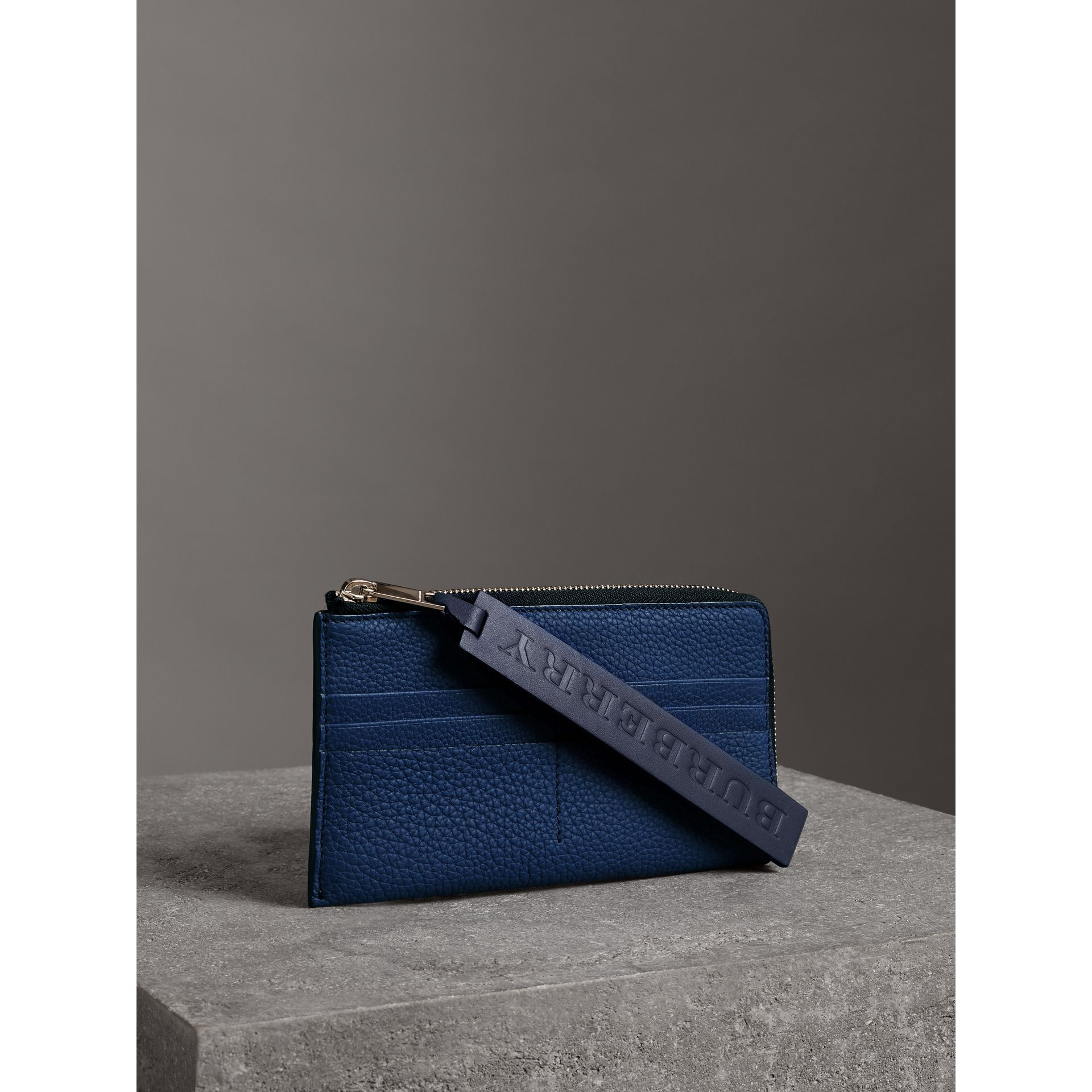 Grainy Leather Travel Wallet in Bright Ultramarine - Men | Burberry Australia - gallery image 4