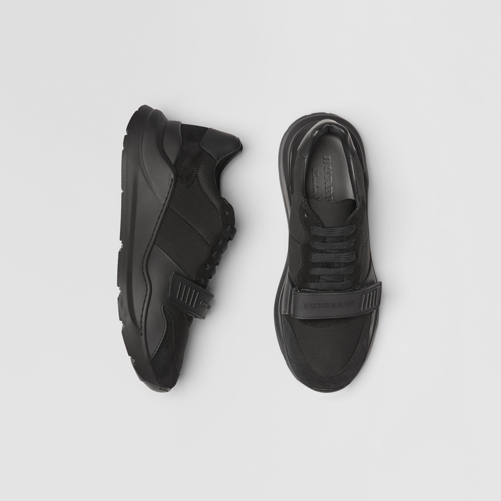 Suede, Neoprene and Leather Sneakers in Black - Men | Burberry - gallery image 0