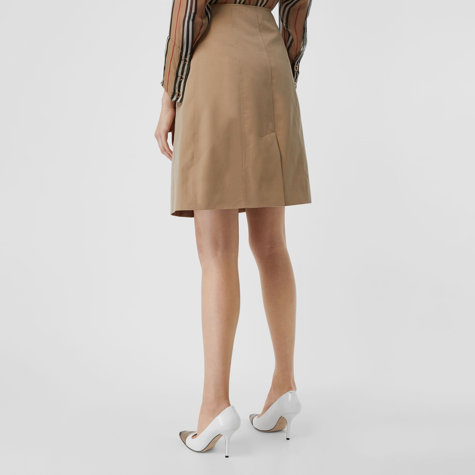Cotton Gabardine Trench Skirt in Honey - Women | Burberry - gallery image 2