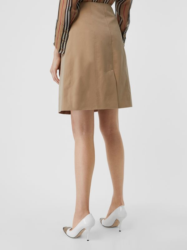 Cotton Gabardine Trench Skirt in Honey - Women | Burberry - cell image 2