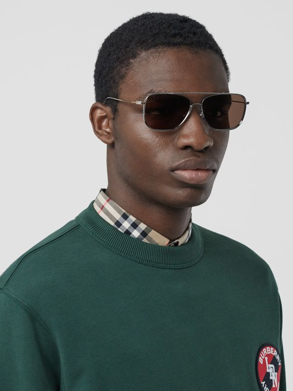 Top Bar Detail Square Frame Sunglasses in Gold - Men | Burberry Canada - cell image 2