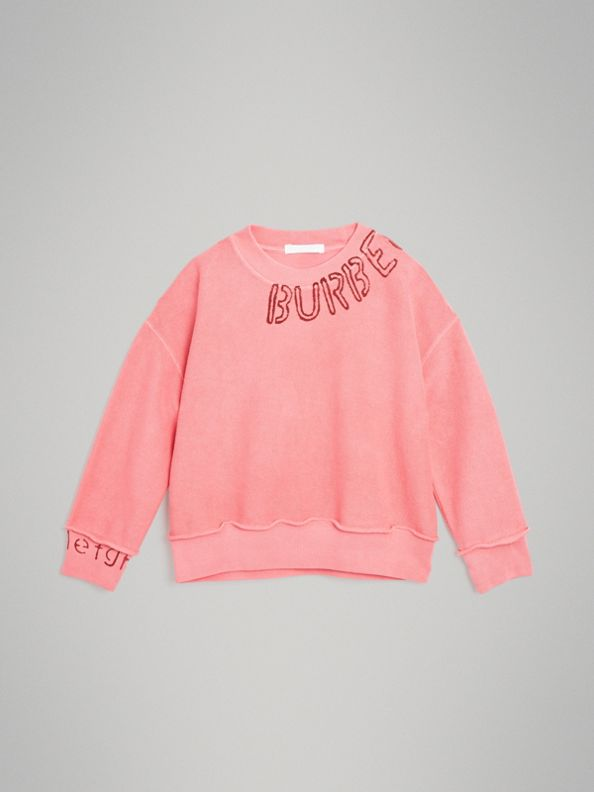 Stencil Logo Print Cotton Sweatshirt in Bright Pink
