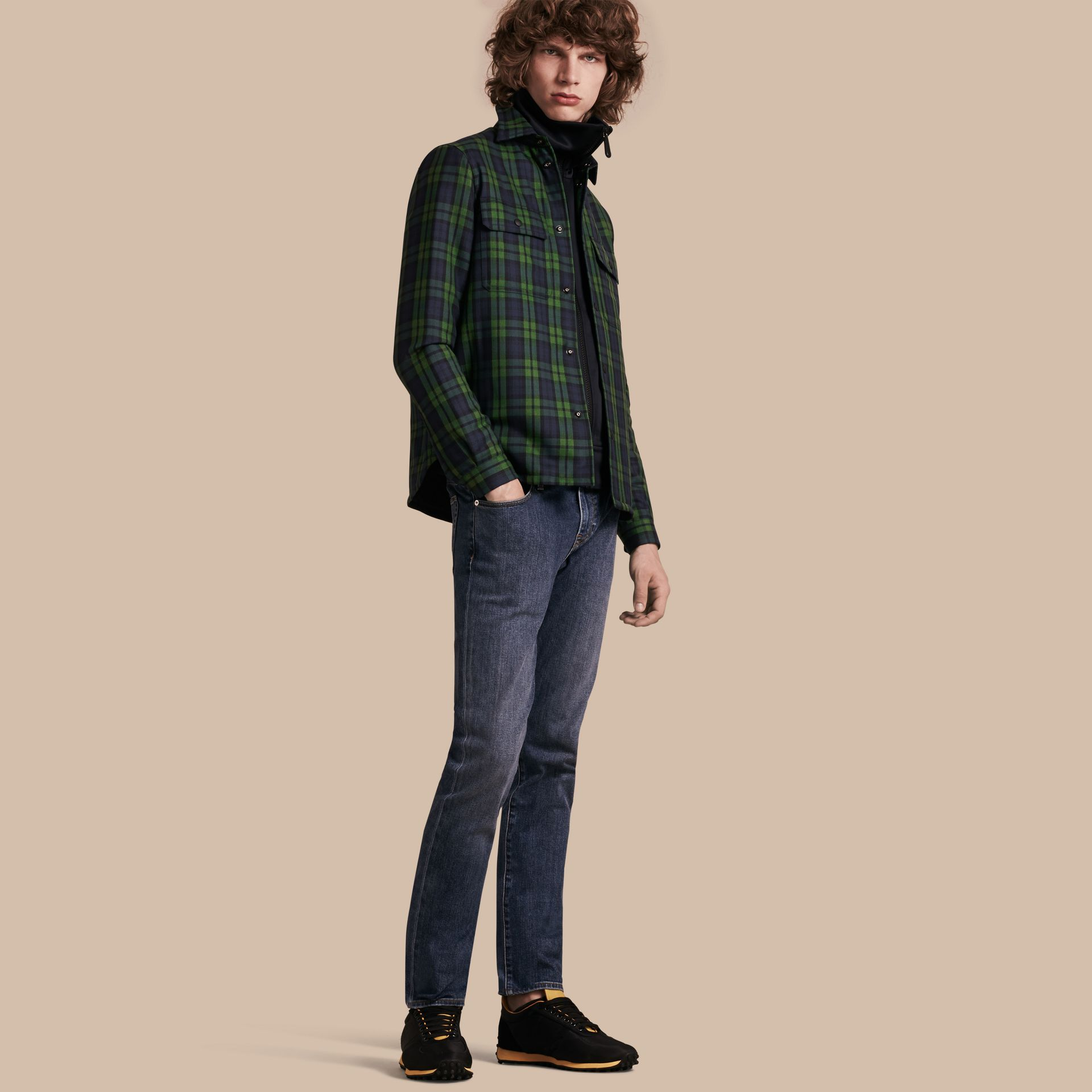 Dark forest green Tartan Wool Wadded Shirt - gallery image 1