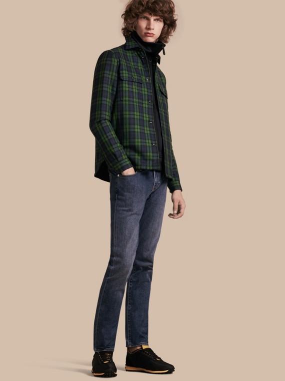 Camicia imbottita in lana con motivo tartan