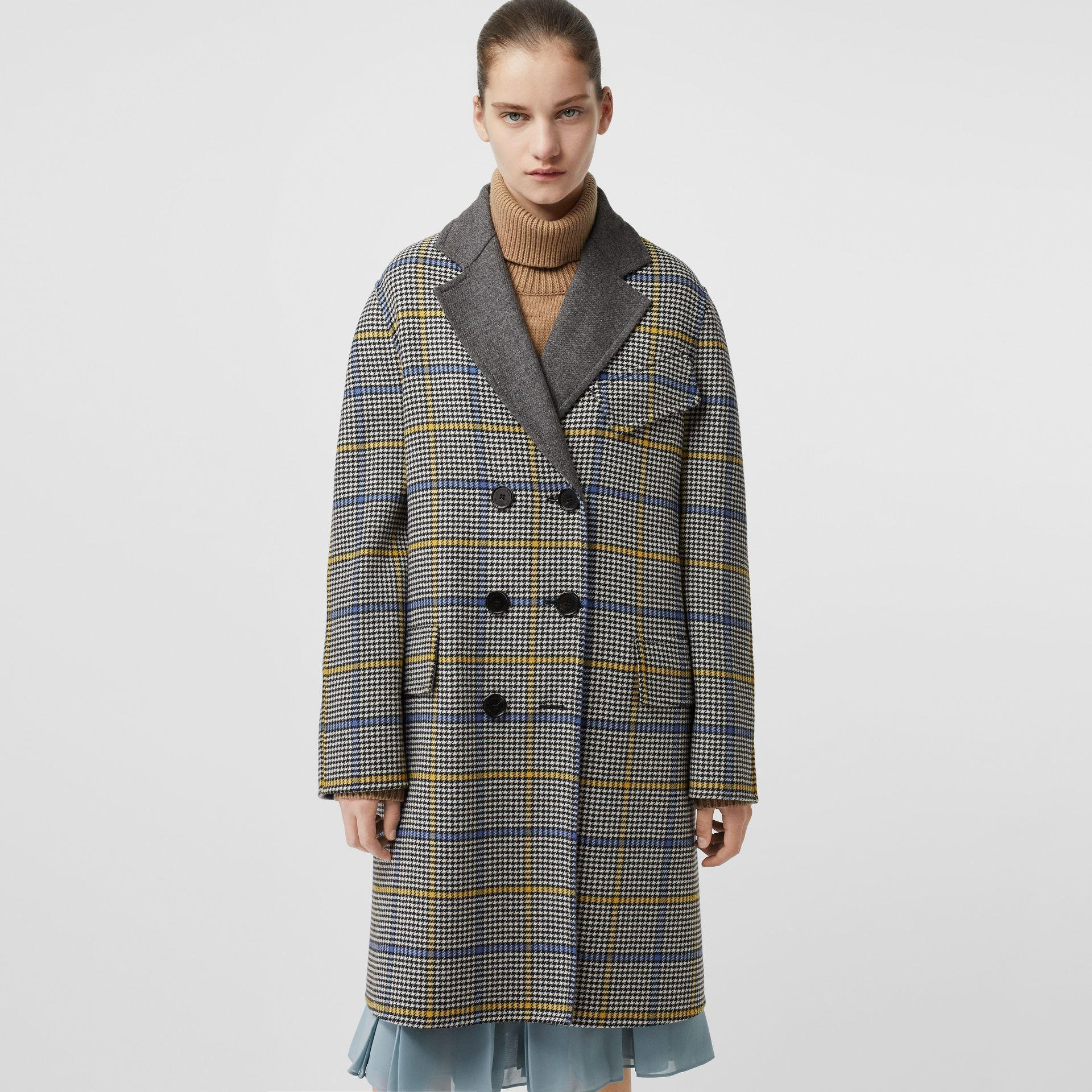 Double-faced Check Wool Cashmere Coat in Parchment - Women | Burberry Australia - gallery image 5