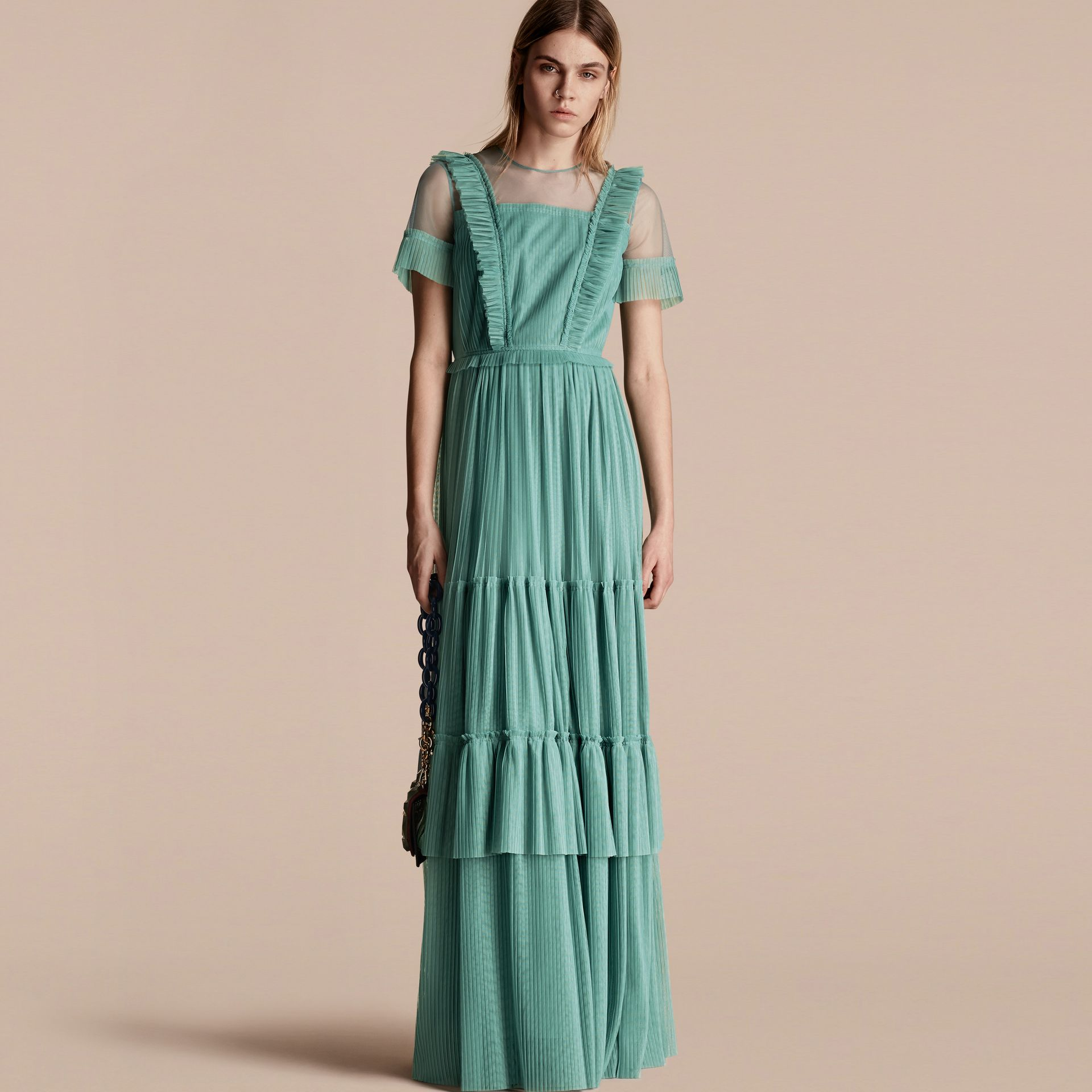 Aqua green Ruffle Detail Floor-length Dress - gallery image 1
